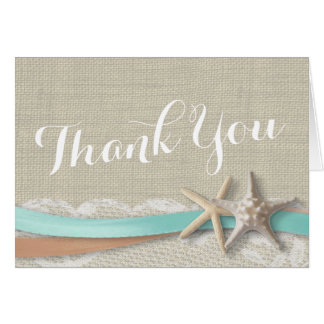 Starfish and Ribbon Thank You Stationery Note Card