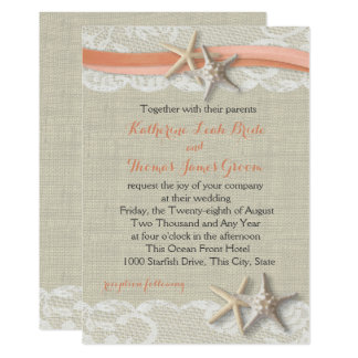 Starfish and Ribbon Vintage Beach Coral Wedding Card
