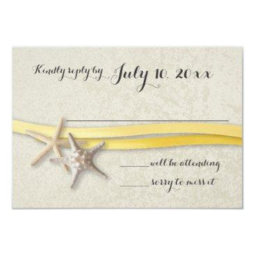Beach Themed Starfish and Ribbon Yellow Beach Response Card