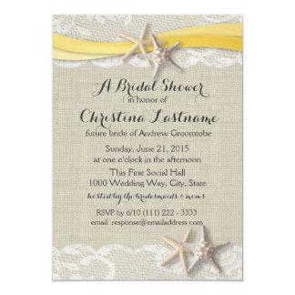 "Starfish and Ribbon Yellow Bridal Shower 5"" X 7"" Invitation Card"