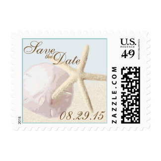 Starfish and Sand Dollar Beach Save the Date Postage