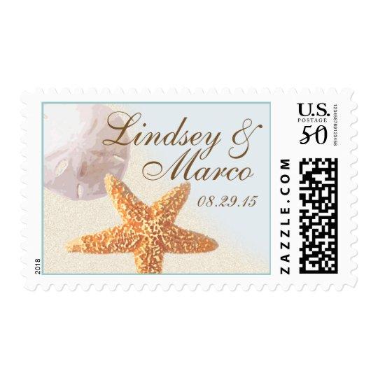 Starfish and Sand Dollar Beach Wedding Postage