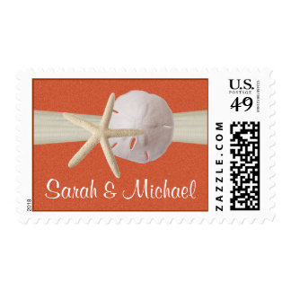 Starfish and Sand Dollar Coral Sunshine Stamp