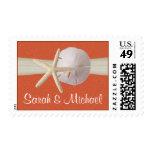 Starfish and Sand Dollar Coral Sunshine Stamps
