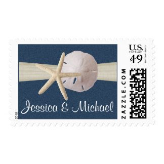 Starfish and Sand Dollar Navy Blue Postage