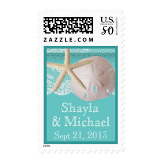Starfish and Sand Dollar Ocean Aqua Postage
