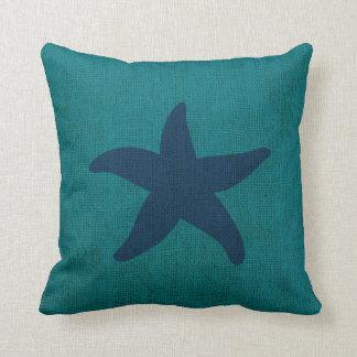 Starfish and Sand Dollar Ocean Green Blue Throw Pillow