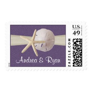 Starfish and Sand Dollar Purple Postage Stamp