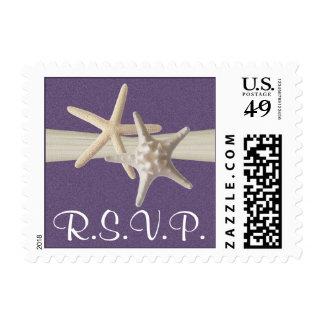Starfish and Sand Dollar Purple RSVP Postage Stamp