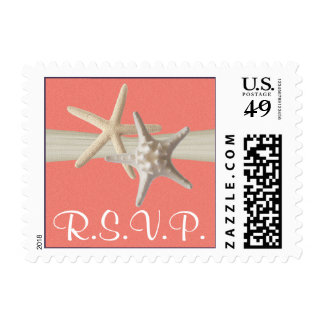 Starfish and Sand Dollar Shell Coral RSVP Postage