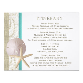 Starfish and Sand Dollar Teal Ocean Romance 4.25x5.5 Paper Invitation Card