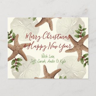 Starfish and Sand Dollars Christmas Postcard