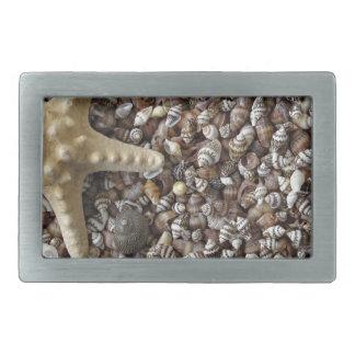 Starfish and seashells rectangular belt buckle