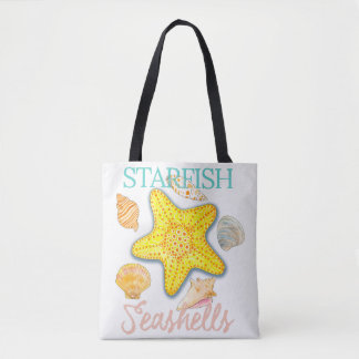 Starfish and Seashells Design with Words Tote Bag
