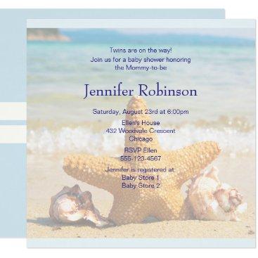 Beach Themed Starfish and Seashells on the Beach Baby Shower Card