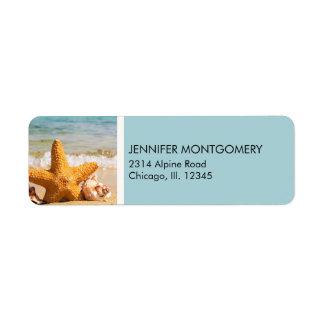 Starfish and Seashells on the Beach Label