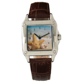 Starfish and Seashells on the Beach Wristwatch