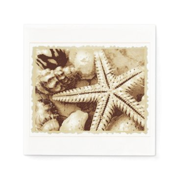 Beach Themed Starfish and Seashells Paper Napkins