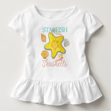 Beach Themed Starfish and Seashells Pattern with Words Toddler T-shirt