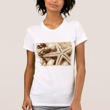Beach Themed Starfish and Seashells Womens T-Shirt
