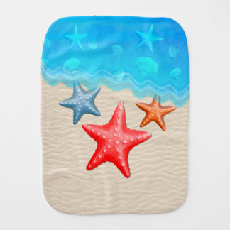 Starfish And Seashells Burp Cloth