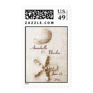 starfish and shell - ocean whisper save the date postage stamp