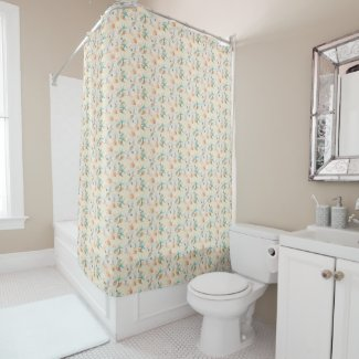 Starfish and Shell Watercolor Shower Curtain