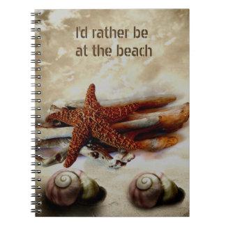 Starfish and shells   beach scene spiral notebook