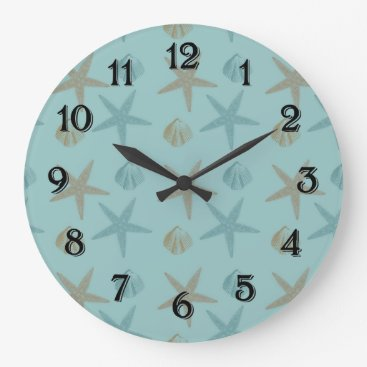 Beach Themed Starfish and Shells Large Clock