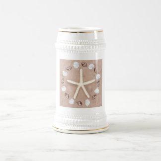 Starfish and shells pentagram beer stein