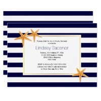 Starfish and stripes beach wedding bridal shower card