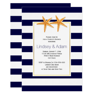 Starfish and stripes beach wedding couples shower card
