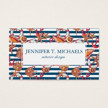 Beach Themed Starfish And Stripes Pattern Business Card