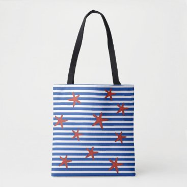 Beach Themed Starfish and Stripes Tote Bag