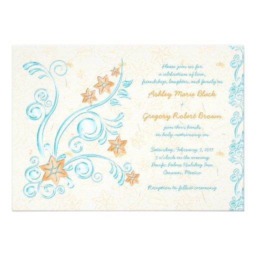 Starfish and Water Destination Wedding Invitation