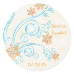 Starfish and Water Destination Wedding Stickers
