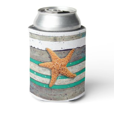 Beach Themed Starfish and Weathered Planks Beach Can Cooler