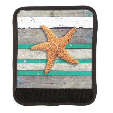 Beach Themed Starfish and Weathered Planks Beach Luggage Handle Wrap