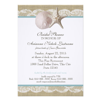 Starfish and White Lace Bridal Shower Card