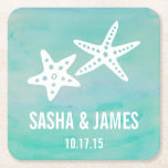 "Starfish Aqua Beach Wedding Coasters<br><div class=""desc"">Design features two white starfish against an airy backdrop of turquoise watercolor strokes. Perfect for beach or destination weddings! Coordinating accessories available in our shop.</div>"
