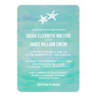 Starfish Aqua Beach Wedding Invitations