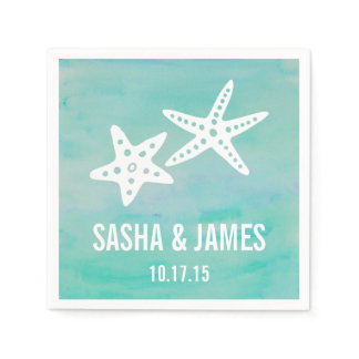 Starfish Aqua Beach Wedding Napkin