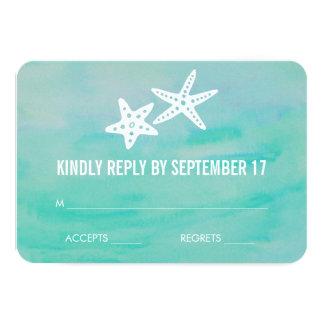 Starfish Aqua Beach Wedding RSVP Response Card