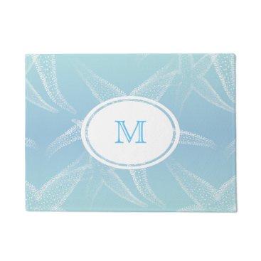 Beach Themed Starfish Aqua Blue Beach Monogram Doormat