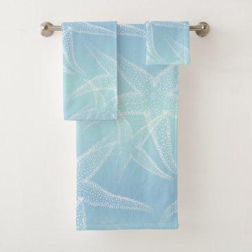 Beach Themed Starfish Aqua Blue Beach Towel Set