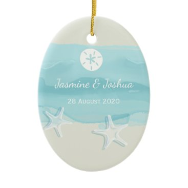 Beach Themed Starfish aqua blue watercolor beach  personalize ceramic ornament