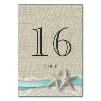 Starfish Aqua Ribbon Table Number Card