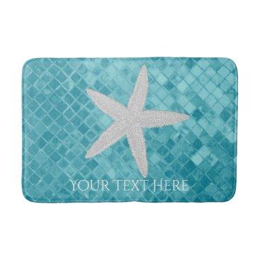 WRAPPED_TOO_TIGHT Starfish Aqua Sea Glass Personalize Bathroom Mat