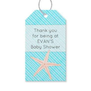 Beach Themed Starfish Aqua Thank You Baby Shower Gift Tags