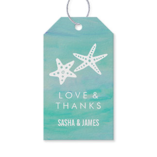 Starfish Aqua Thank You Favor Tags